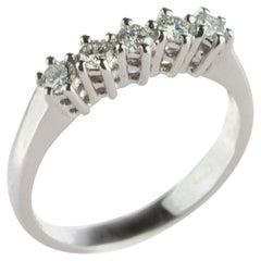 18 Karat Gold Diamond Radiant Line Band Wedding Bridal Carved Engagement Ring