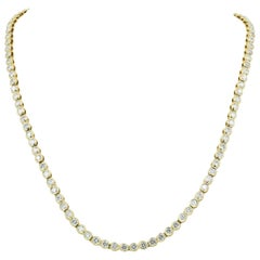 18 Karat Gold Diamond Riviera Necklace with Approximately 7.00 Carat Total