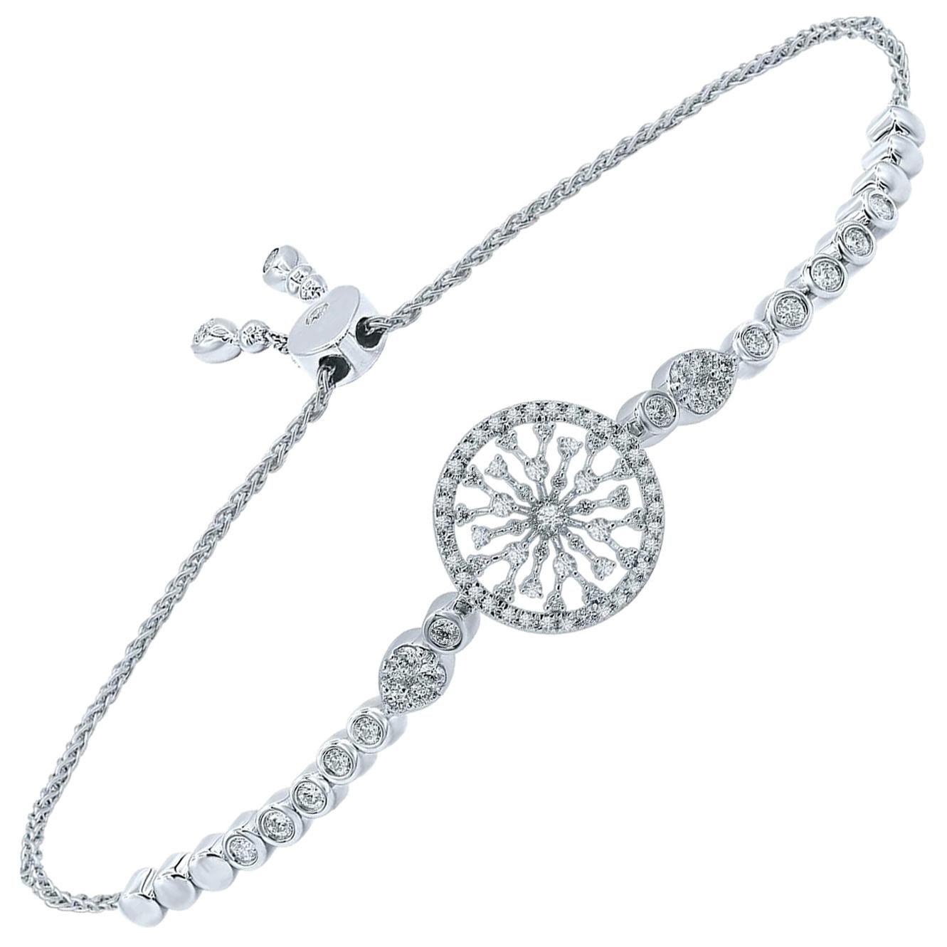 18 Karat Gold Diamond Round Snowflakes Bracelet