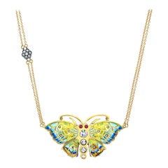 18 Karat Gold, Diamond, Ruby and Enamel Mosaic Butterfly Pendant 'Isabella'