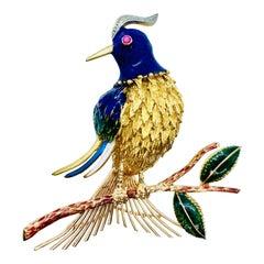 "18 Karat Gold Diamond Ruby and Enamel Woodpecker ""Bird on a Branch"" Brooch"