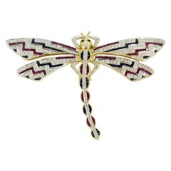 18 Karat Gold, Diamond, Ruby, and Sapphire Dragonfly Pin