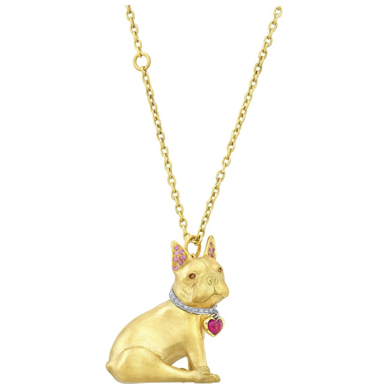 18 Karat Gold, Diamond, Ruby and Sapphire French Bulldog Pendant 'Olive' For Sale