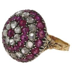 18 Karat Gold Diamond Ruby Bombe Ring