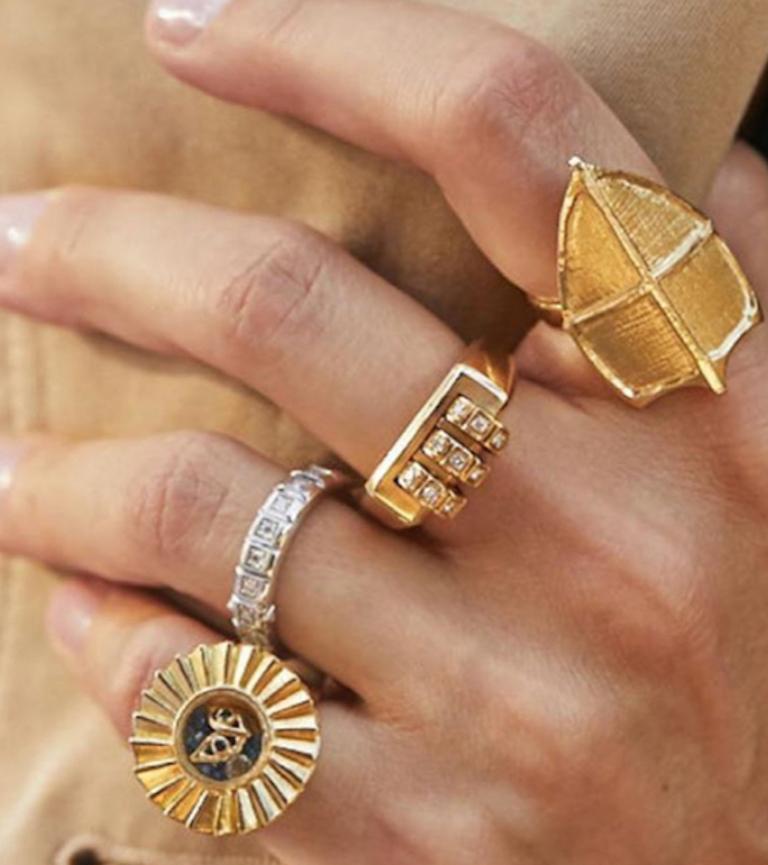 Women's or Men's 18 Karat Gold Diamond Ruby Code Ring For Sale