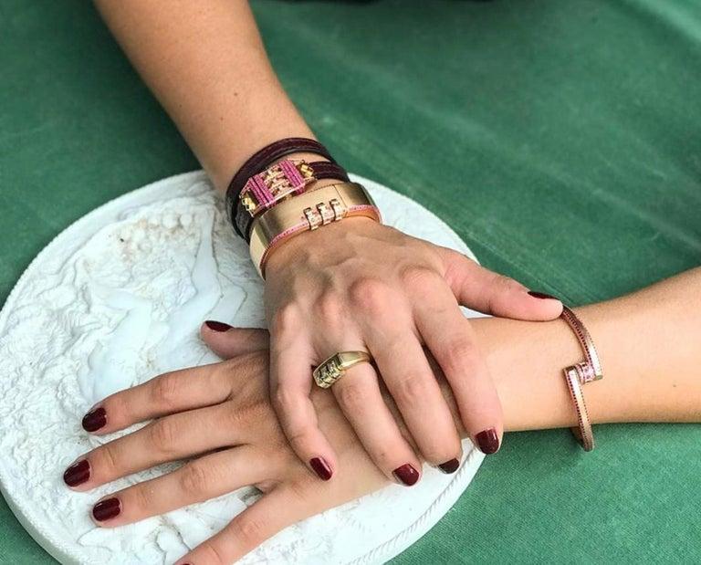18 Karat Gold Diamond Ruby Code Ring For Sale 2