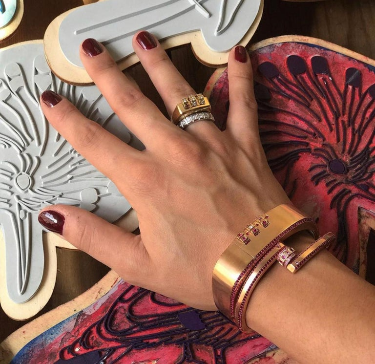 18 Karat Gold Diamond Ruby Code Ring For Sale 4