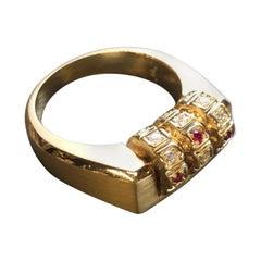 18 Karat Gold Diamond Ruby Code Ring