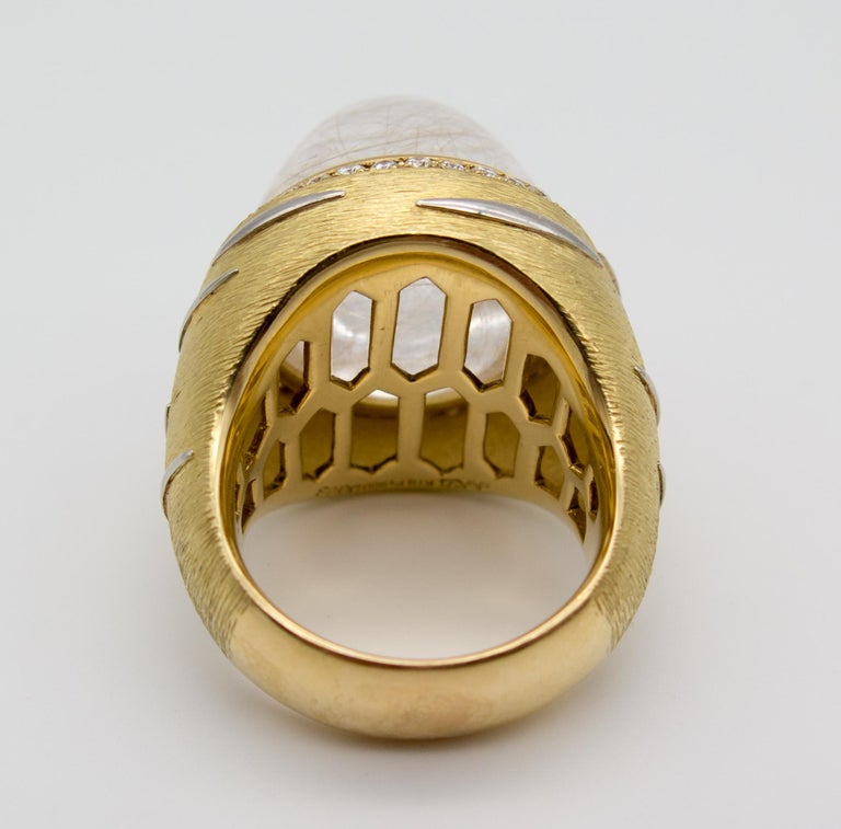 Modernist 18 Karat Gold Diamond Rutilated Rock Crystal Dome Ring For Sale
