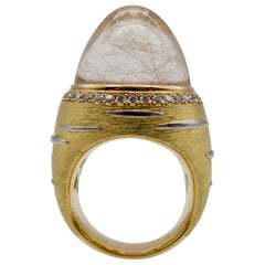 18 Karat Gold Diamond Rutilated Rock Crystal Dome Ring
