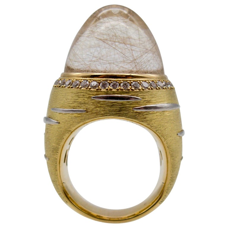 18 Karat Gold Diamond Rutilated Rock Crystal Dome Ring For Sale