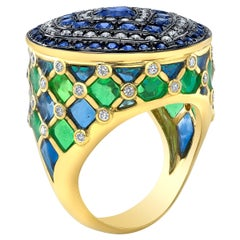18 Karat Gold, Diamond, Sapphire and Enamel Contemporary Ring 'Starlight'
