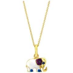 18 Karat Gold, Diamond, Sapphire and Enamel Elephant Charm Pendant 'Ruby Love'