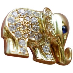 18 Karat Gold, Diamond, Sapphire and Enamel Elephant Earring 'Satao and Raja'
