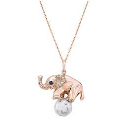 18 Karat Gold, Diamond, Sapphire and Enamel Elephant Pendant Necklace 'Ruby'