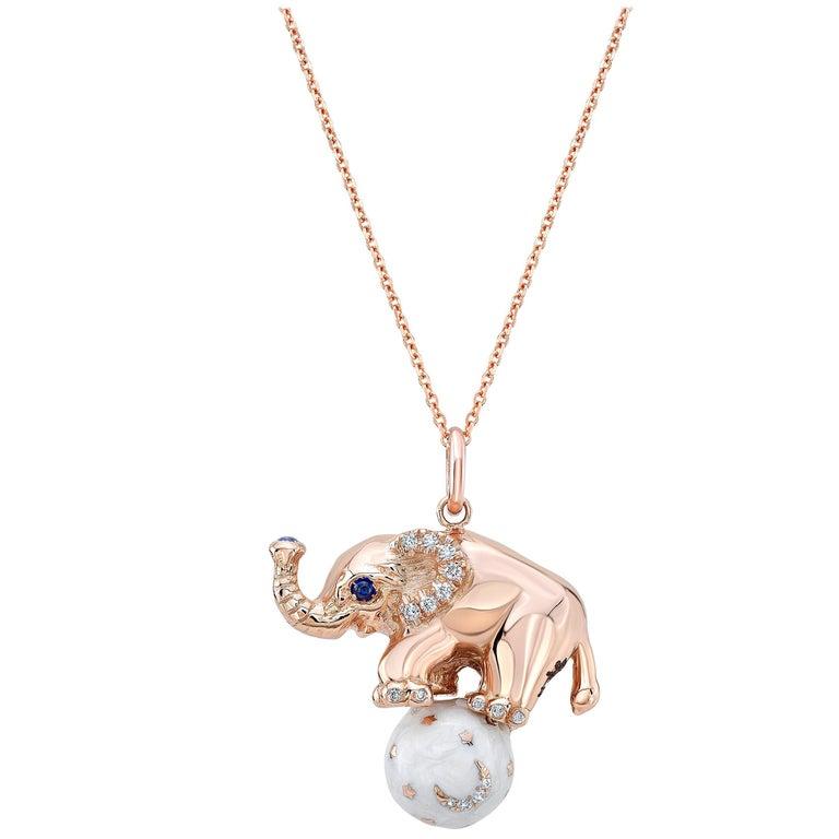18 Karat Gold, Diamond, Sapphire and Enamel Elephant Pendant Necklace 'Ruby' For Sale