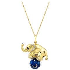18 Karat Gold, Diamond, Sapphire and Enamel Elephant Pendant Necklace 'Tuffi'