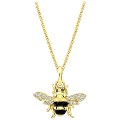 18 Karat Gold, Diamond, Sapphire and Enamel Pendant/Charm Necklace 'Honey Bee'