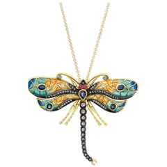 18 Karat Gold, Diamond, Sapphire and Ruby Mosaic Dragonfly Pendant or Pin 'Kiki'