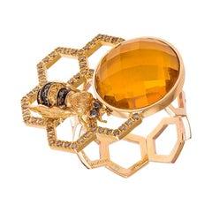 DELFINA DELETTREZ 18 Karat Gold Diamond Sapphire Citrine Beehive Cocktail Ring
