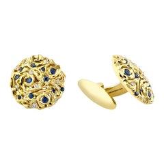 18 Karat Gold Diamond Sapphire Starry Night Cufflinks