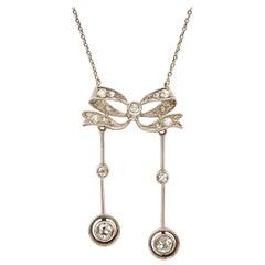 Edwardian 18 Karat Gold and Diamond Negligee Pendant Necklace Circa 1915