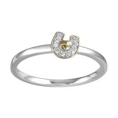 18 Karat White Gold Diamond Set Good Luck Horse Shoe Stacking Ring