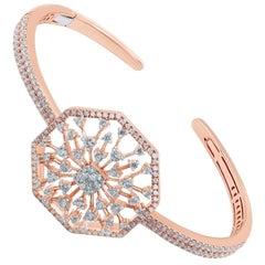 18 Karat Gold Diamond Snowflakes Bangle Bracelet