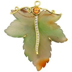 18 Karat Gold Diamond Spessatite Garnet and Agate Brooch