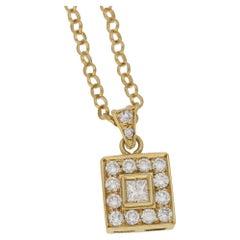 18 Karat Gold Diamond Square Cluster Pendant