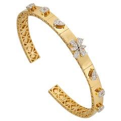 18 Karat Gold Diamond Station Bangle Bracelet