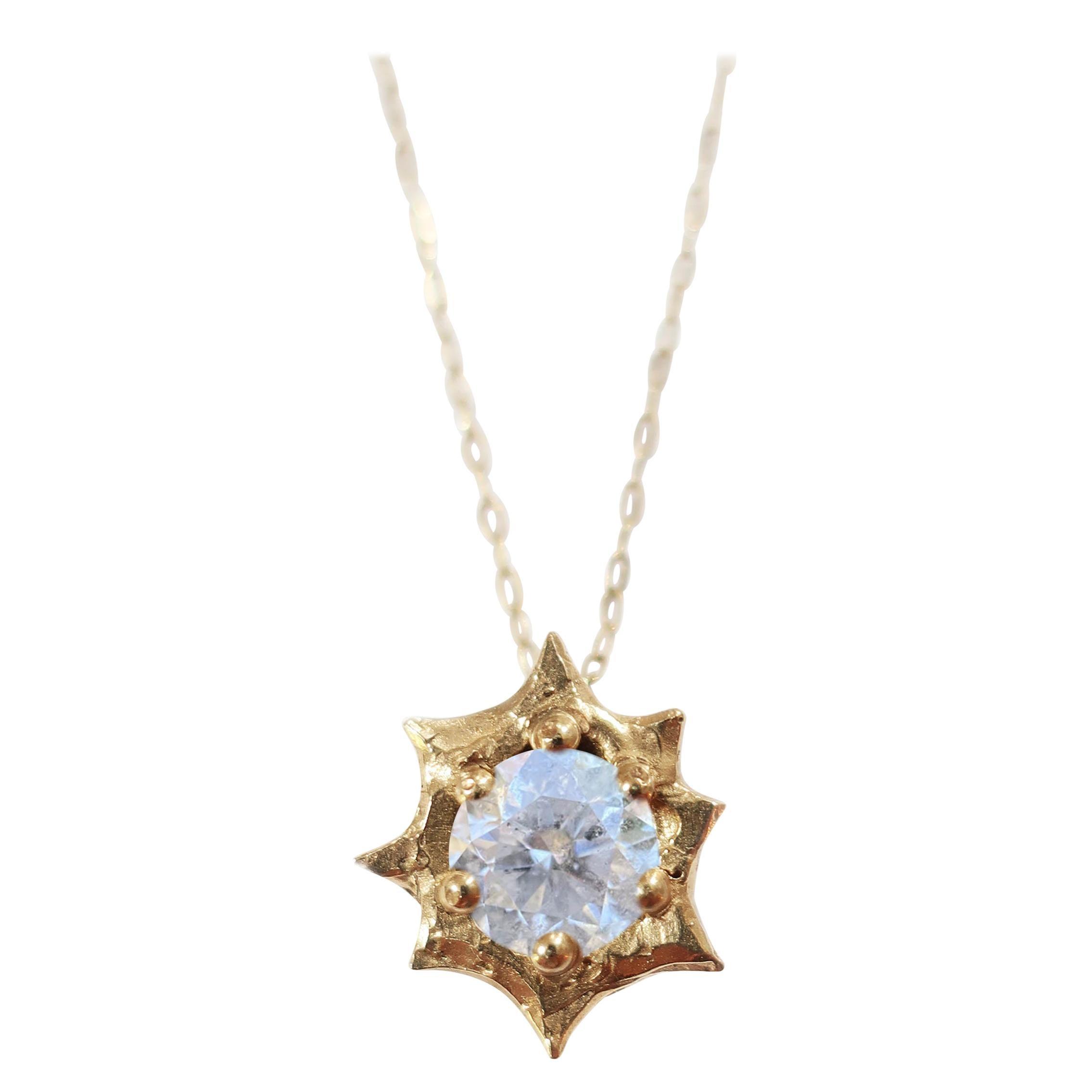 18 Karat Gold Diamond Sun Pendant