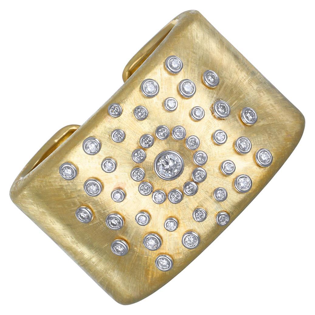 18 Karat Gold Diamond Sunburst Cuff Bracelet