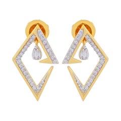 18 Karat Gold Diamond V Earrings