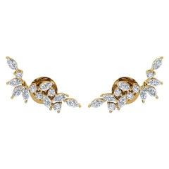 18 Karat Gold Diamond Veil Stud Earrings