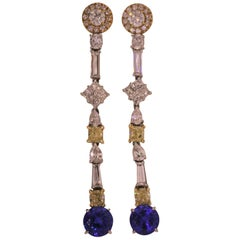 18 Karat Gold, Diamonds '7.13 Carat', Tanzanite '6.93 Carat' Drop Earrings