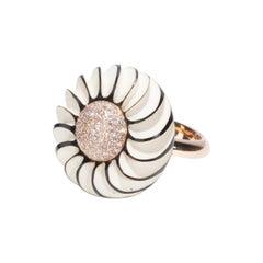 18 Karat Gold Diamonds Art Deco Style Black and Soft Cream Celluloid Button Ring