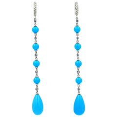 18 Karat Gold Diamonds, Blue Sapphires and Turquoise Garavelli Long Earrings