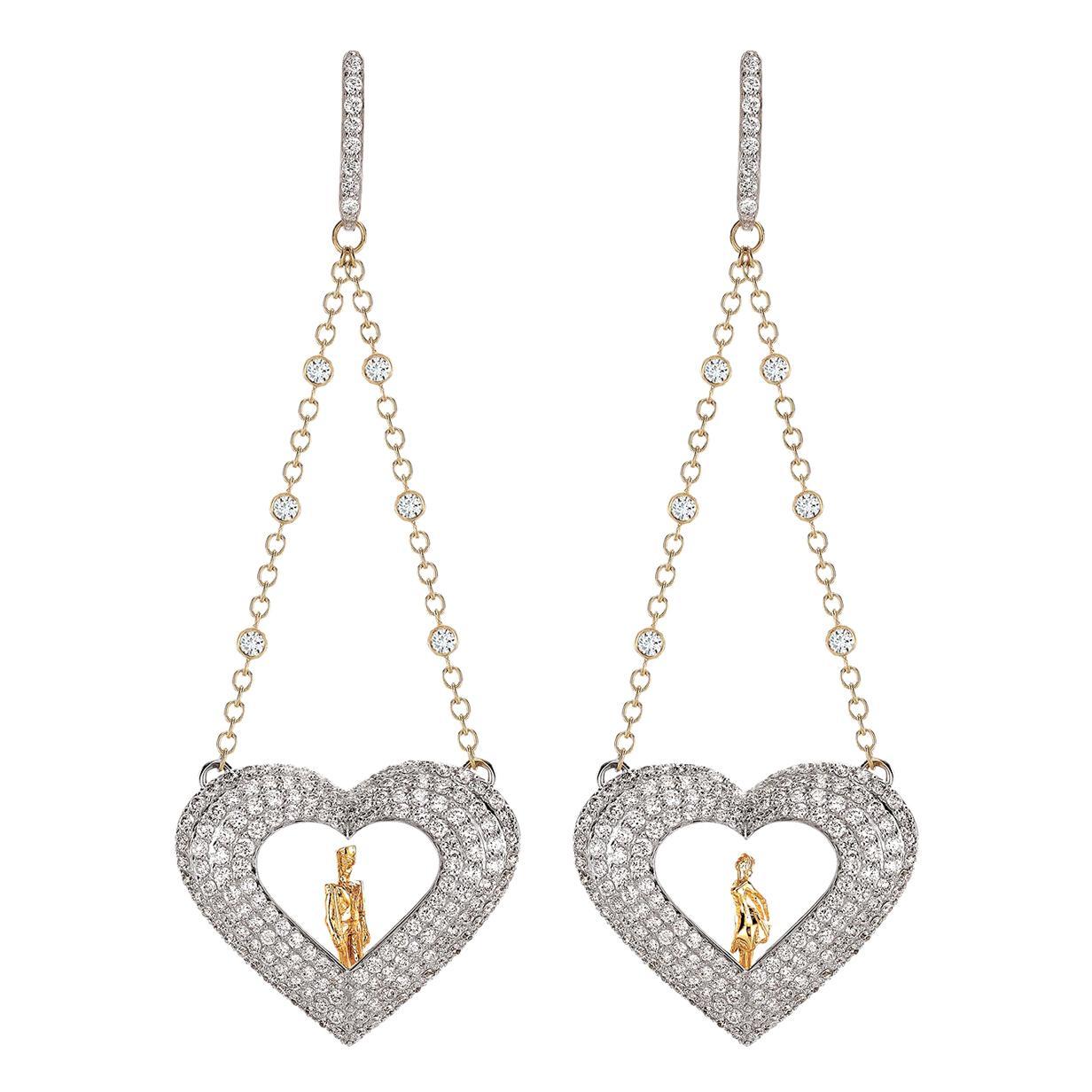 Sybarite Jewellery Hearts 18 Karat Gold Diamond Dangling Earrings