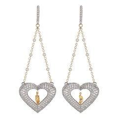 Sybarite Jewellery Hearts 18 Karat Gold Diamond Dangling Earrings