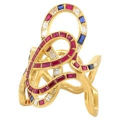 18 Karat Gold Diamonds, Rubies and Sapphires Ring