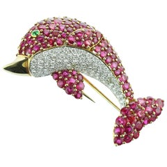 18 Karat Gold Diamond Ruby Emerald Pave Pink Dolphin Pin Clip Colorful Brooch