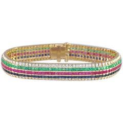 18 Karat Gold Diamonds Sapphires Emeralds Rubies Bracelet