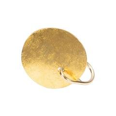18 Karat Gold Disk and Gold Leaf Silver Ring