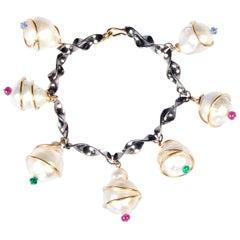 18 Karat Gold Casa Mila Pearl Bracelet with Emerald, Ruby, Sapphire Beads