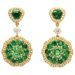18 Karat Gold Donna Vock Tsavorite and Diamond Drop Earrings