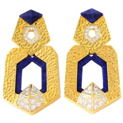 18 Karat Gold Door Knocker Lapis Diamond Earrings