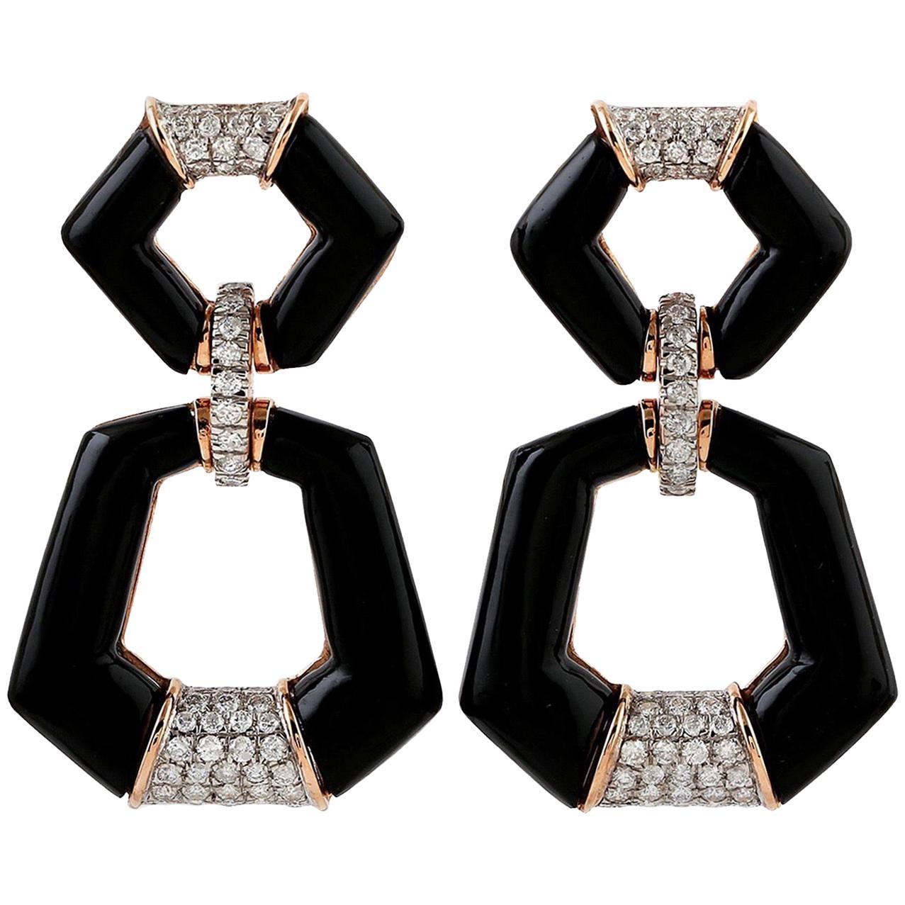 18 Karat Gold Door Knocker Onyx Diamond Earrings