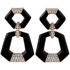 18 Karat Gold Door Knocker Onyx Diamond Earrings