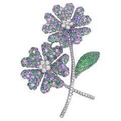 18 Karat Gold Double Flower Brooch, Diamonds, Pastel Sapphires and Tsavorites